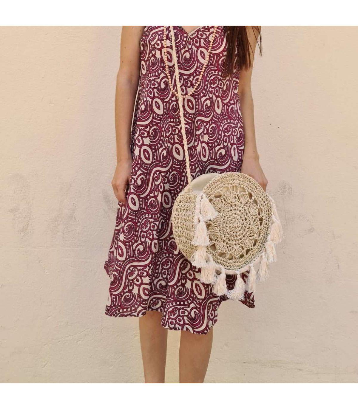 Bolso Tipo Crochet Redondo Flecos